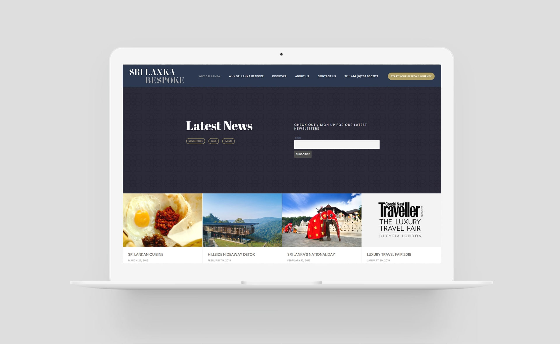 Travel website design new section