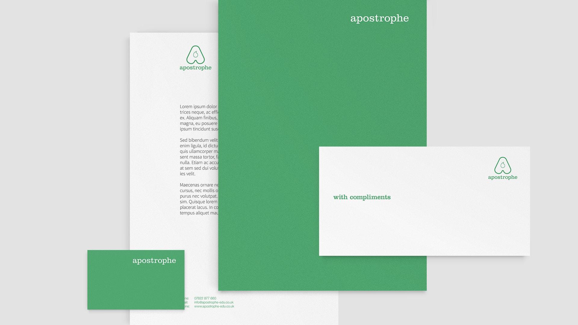 Apostrophe identity stationery design