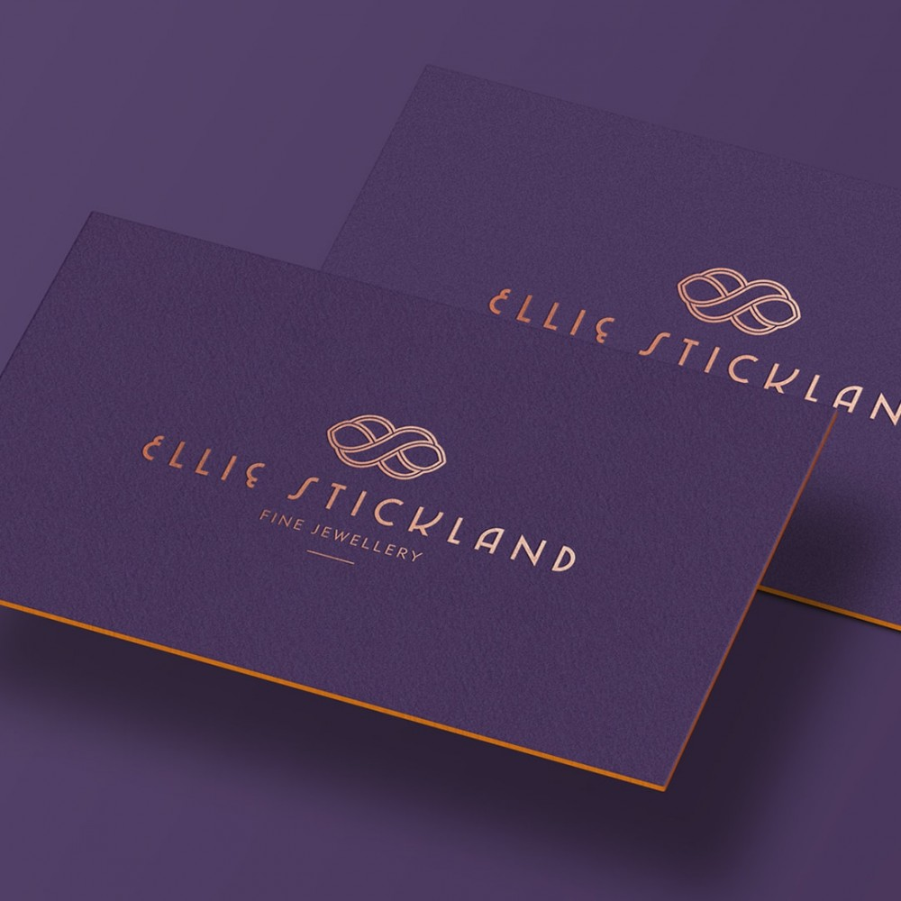 Hot foil stamp purple business card design