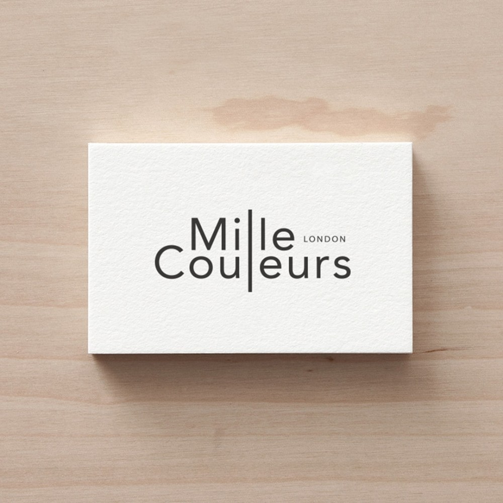 Black foil on white business card design